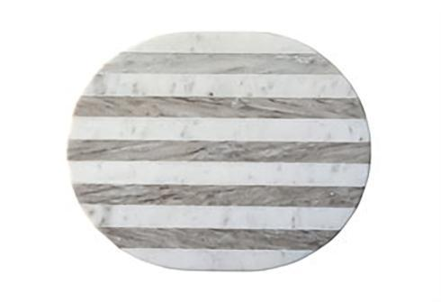 Creative Co-op   Marble Cheese/Cutting Board, Grey & White Stripe  $40.95