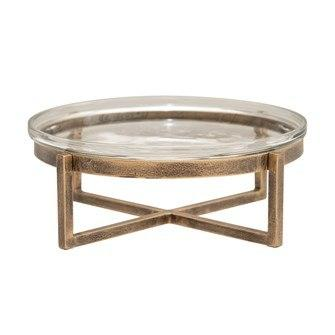 Creative Co-op   Glass Serving Tray with Metal Stand, Antique Gold Finish,  $33.95
