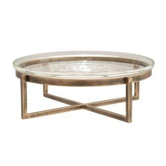 Creative Co-op   Glass Serving Tray with Metal Stand, Antique Gold Finish,  $54.95