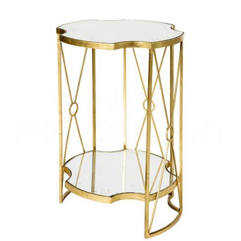 "$549.95 Gold Leaf Marlene Tall Double Side Table 17"" W x 24"" H"