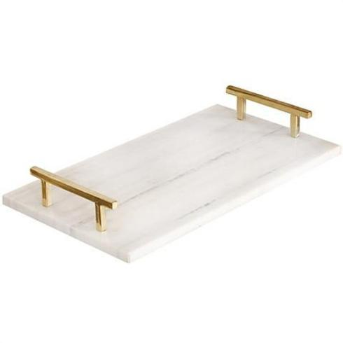 $119.95 Rectangular Marble Tray with Gold Handles
