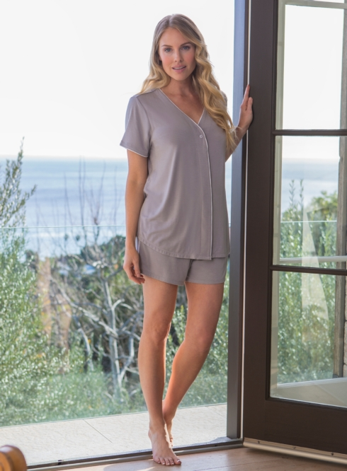$108.95 the LUXE MILK JERSEY® SHORT SLEEVE PIPED PJ TOP & BOXER SET Color: Pewter (XL)