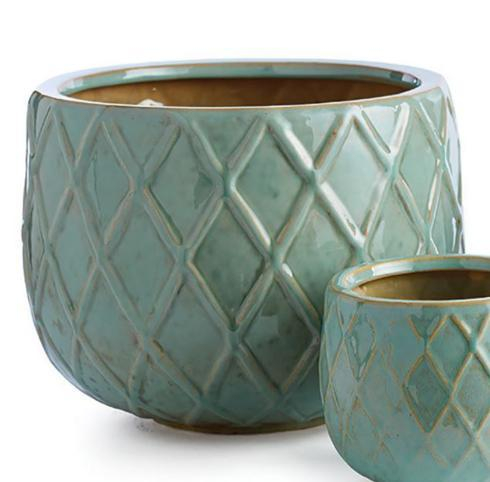 $27.95 AQUA HARLEQUIN POT (Large)