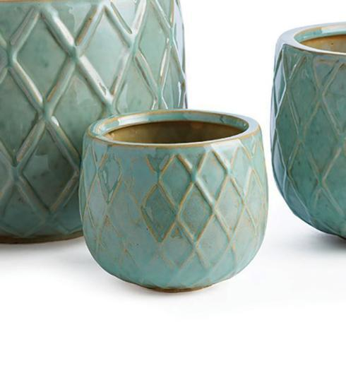$14.95 AQUA HARLEQUIN POT (Small)