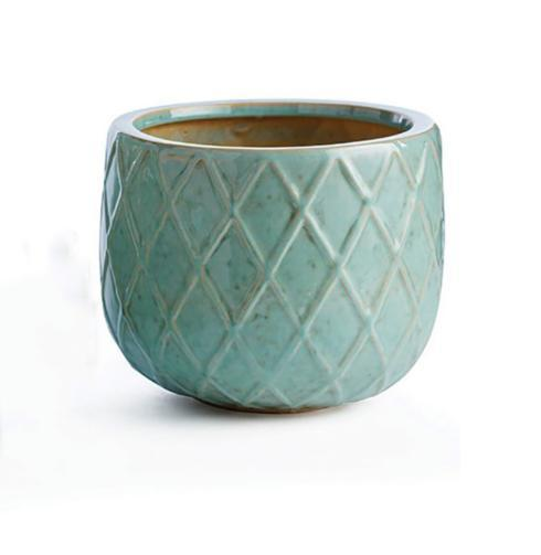 $20.95 AQUA HARLEQUIN POT (Medium)