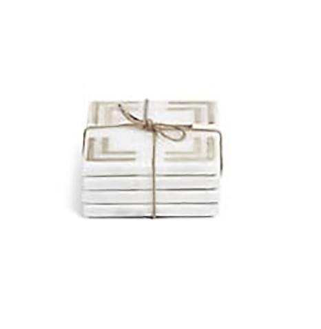 """$39.95 Set of 4 4"""" Marmo Marble w/ Gold Inlay Coasters"""