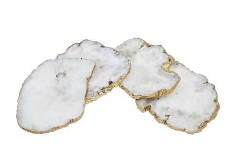 $14.95 Godinger White Quartz Coasters Brass Edge (Priced Each)