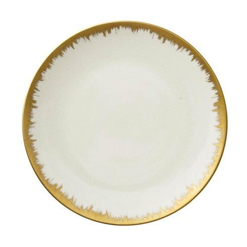 "$89.00 Aura Opal Dinner with Gold Brushstroke 10.5"" D"
