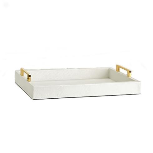 $39.95 Large Ursula White Tray  with Gold Handle