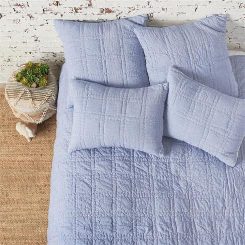 Denim Blue Cotton Quilt- Queen collection with 2 products