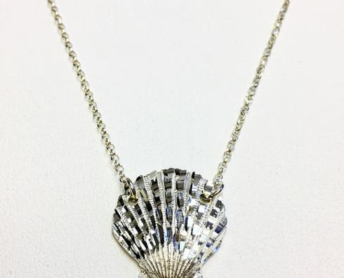 $80.00 Sterling Silver Scallop Shell Necklace