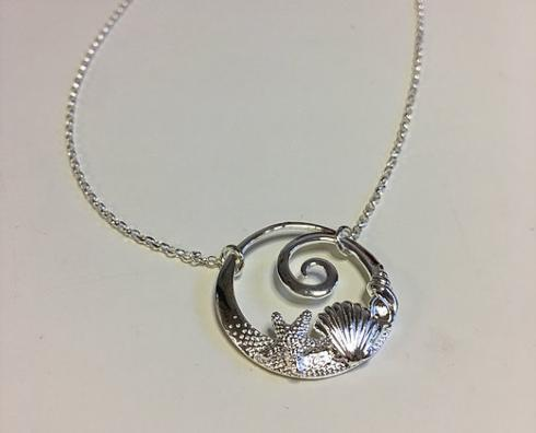 $80.00 Sterling Silver Wave Shell Necklace