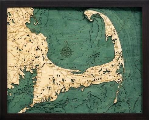 $189.95 Cape Cod 3-D Nautical Wood Chart 16 x 20