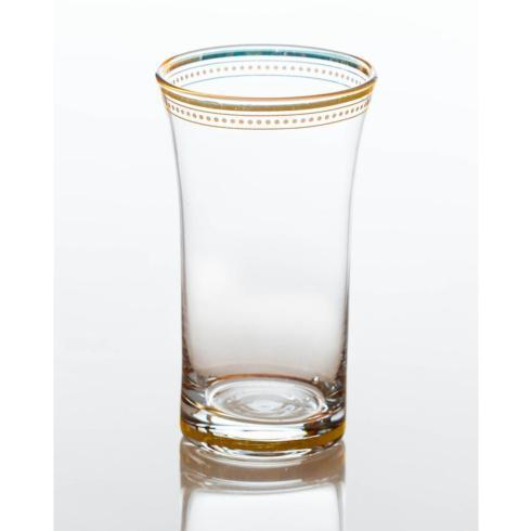 $88.00 Clear Glass Tumbler with Gold Trim, Set of 4
