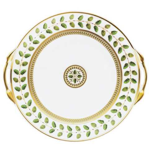 Bernardaud  Constance Green Cake Plate with Handles $390.00