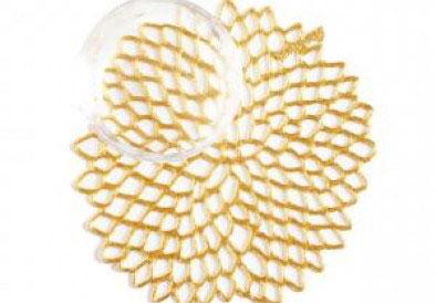 $18.00 Dahlia Gold Coasters, Set of 6