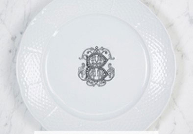 Sasha Nicholas  Weave Simply White With Personalization Dinner Plate with Personalization $58.00