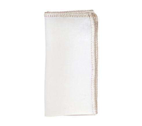 Kim Seybert Linens  Napkins Crochet Edge White and Silver Napkin $22.00