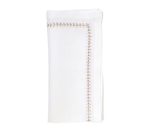 Kim Seybert Linens  Napkins Herringbone White, Gold and Silver Napkin $30.00