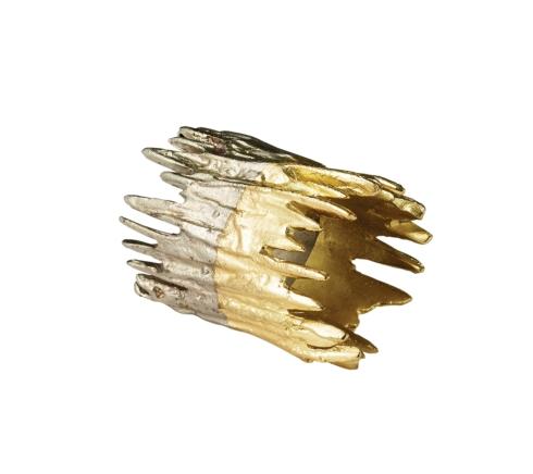 Kim Seybert Linens  Napkin Rings Patina Gold and Silver Napkin Ring $22.00