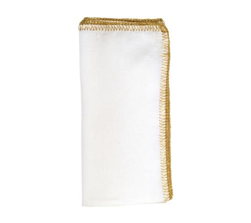 Kim Seybert Linens  Napkins Crochet Edge White and Gold Napkin $22.00