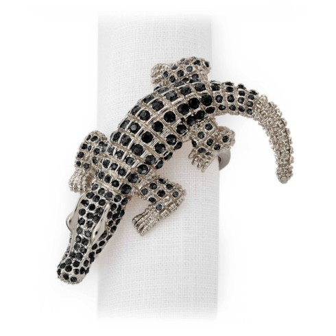 L'Objet  Napkin Ring Sets Alligator Platinum and Black Napkin Jewels, Set of 4 $225.00