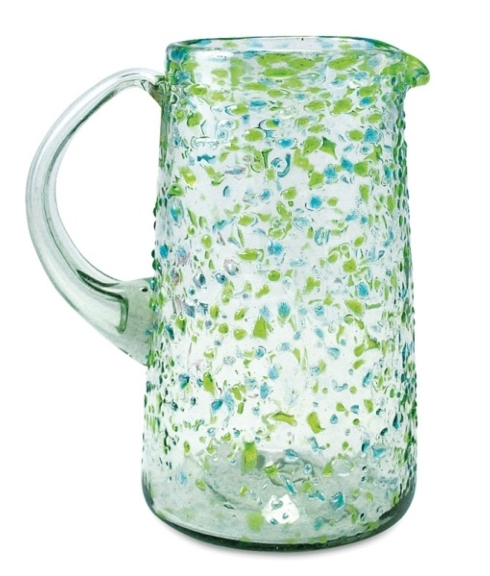 Mariposa  Confetti Glass Pitcher, Green $39.00
