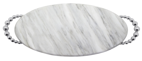 Mariposa  String of Pearls Pearled Long Oval Marble Platter $145.00