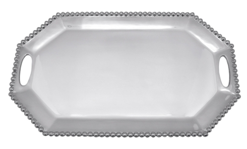 Mariposa  String of Pearls Pearled Long Rectangular Octagonal Tray $169.00