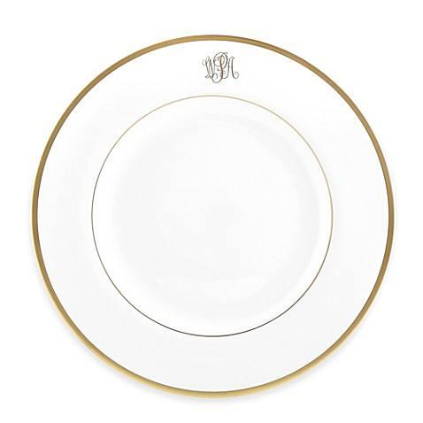 Pickard Monogram  Signature Ultra White with Gold Rim Bread and Butter Plate with Monogram $48.00