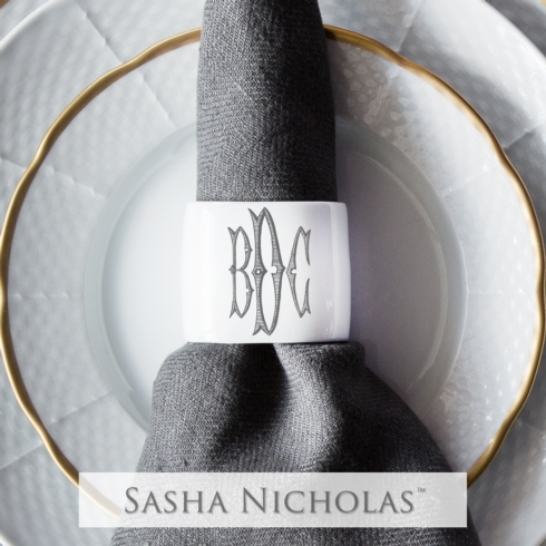 Sasha Nicholas   Oval Napkin Ring with Personalization $30.00
