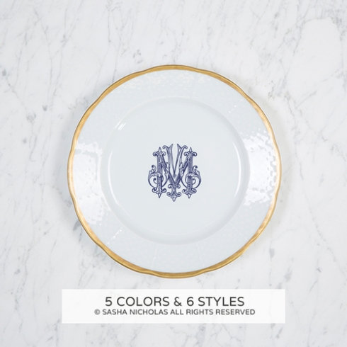 Sasha Nicholas  Weave Simply White 24Kt Gold with Personalization Salad Plate $66.00