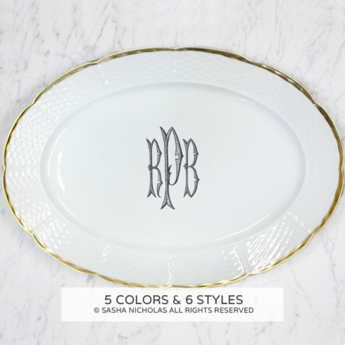 Sasha Nicholas  Weave Simply White 24Kt Gold with Personalization Oval Platter with Personalization $215.00