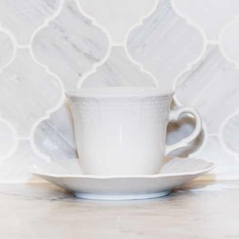 Sasha Nicholas  Weave Simply White Cup and Saucer $22.00
