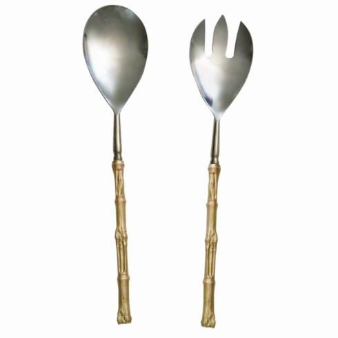 Michael Michaud Table Art   Gold Bamboo Serving Set $118.00