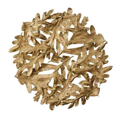 Michael Michaud Table Art   Oak Leaves Gold Trivet $70.00