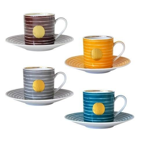 $622.00 Espresso Cup and Saucer, Set of 4