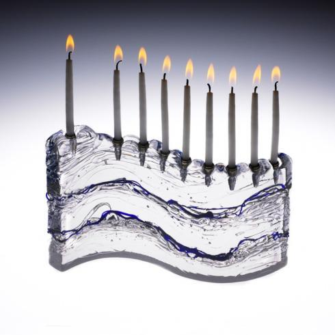 Glasslight Studio   S Menorah with Cobalt $200.00