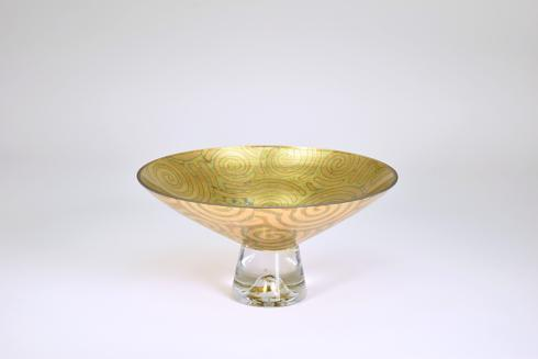 "$189.95 Pedestal Bowl 14"" Green Twist"