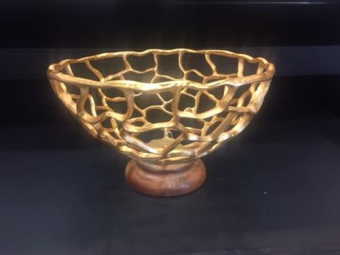 Montes Doggett   Gold Branch Bowl on Base $84.95