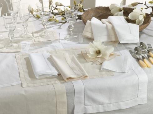 Saro Designs   Hemstiched White Napkin Set/12 $120.00