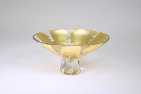 "$109.95 Pedestal Bowl 9"" Gold Slash"