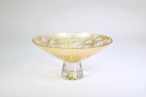 "$109.95 Pedestal Bowl 9"" Gold Wabi"