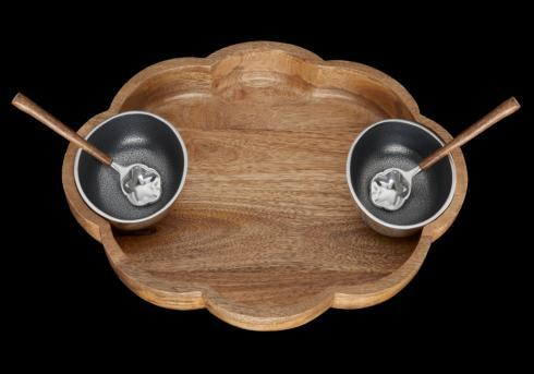 Inspired Generations   Silver Lining Wooden Bowl with 2 Bowls & Spoons $84.95