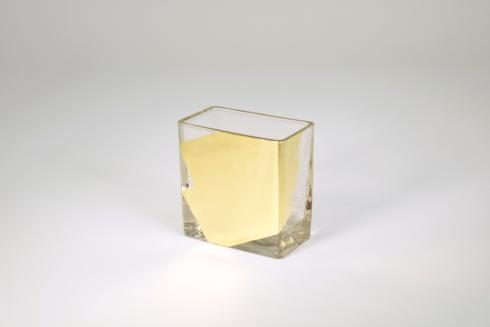 "$33.95 Rectangular Vase 4"" Gold Slash"