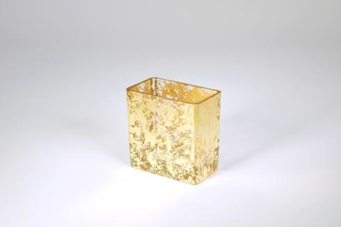 "$33.95 Rectangular Vase 4"" Gold Wabi"