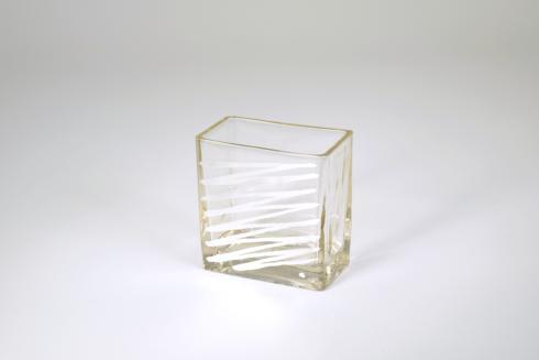 """$33.95 Rectangular Vase 4"""" Silver Zig Zag"""