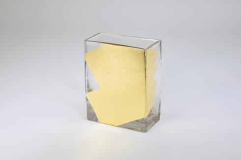 "$48.95 Rectangular Vase 6"" Gold Slash"