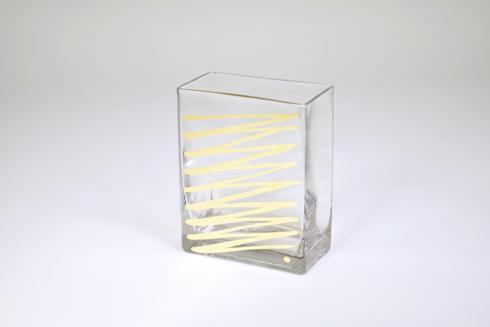 "$48.95 Rectangular Vase 6"" Gold ZigZag"