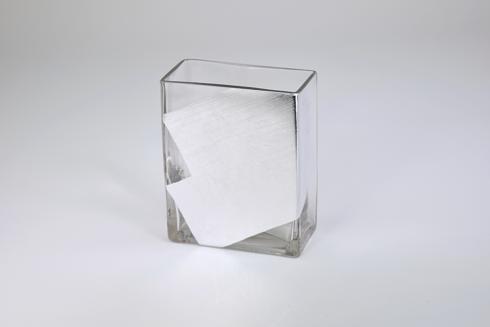 "$48.95 Rectangular Vase 6"" Silver Slash"